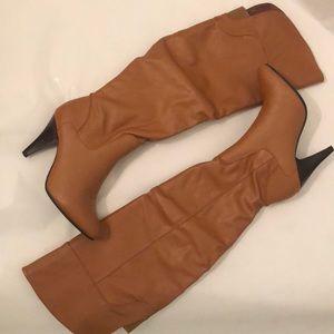 Cognac Knee Length Boots